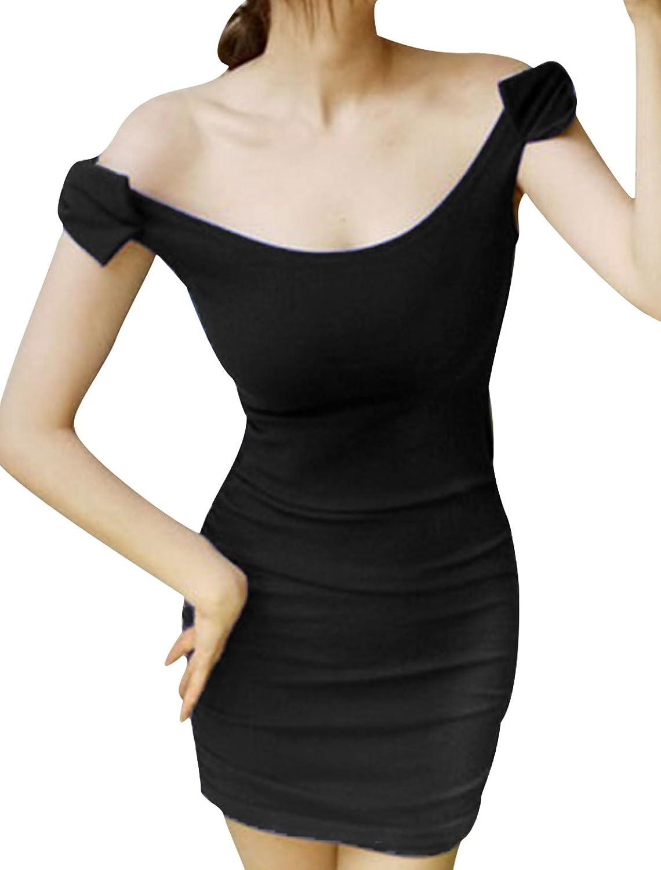 Women U Neck Sleeveless Bowknot Decor Shoulder Sheath Evening Dresses