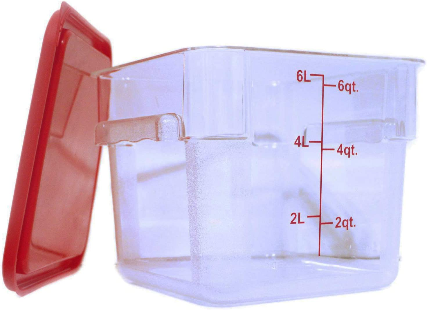 Tiger Chef 6 Quart Commercial Grade Clear Food Storage Square Polycarbonate Containers With Red Lids 4 Pack