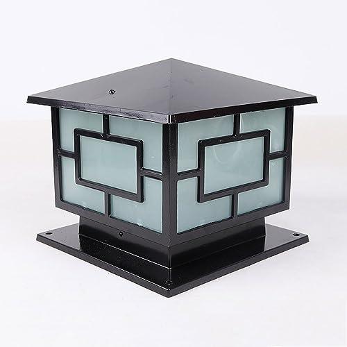 CGJDZMD Waterproof Aluminium Die-Casting Pillar Lamp Europe Door Column Light Square Outdoor Fence Lights Industrial Antique Rust-Proof Single Head LED E27 Post Light Fixture