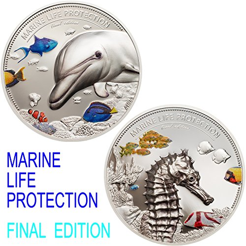 PW 2017 Marine Life Protection - Dolphin & Sea Horse 2oz 2 Silver Coin Set - Palau Perfect Uncirculated