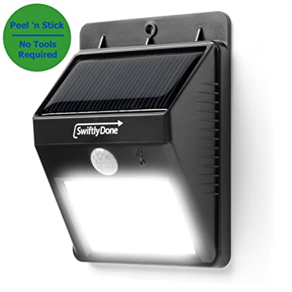 Solar Outdoor Motion Light Amazon swiftly done bright solar power outdoor led light no swiftly done bright solar power outdoor led light no tools required peel and stick motion activated workwithnaturefo
