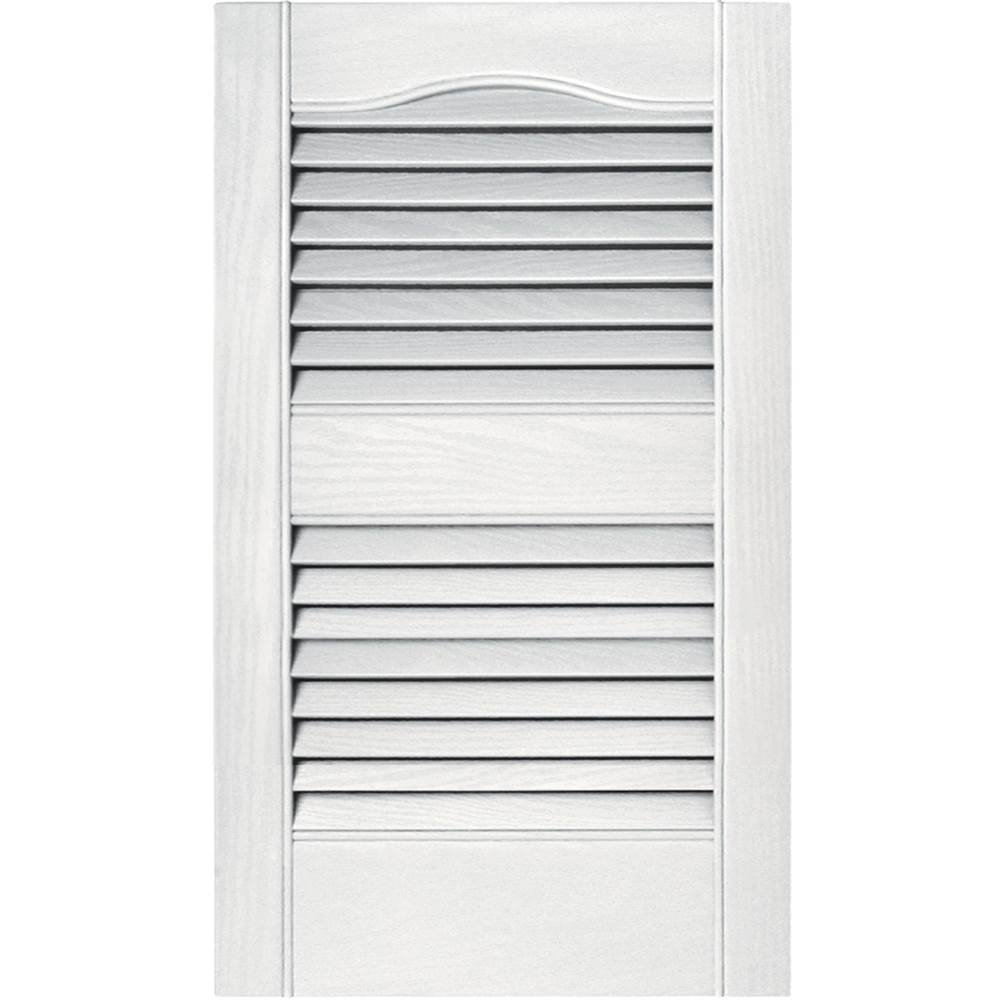 Builders Edge 15 in. Vinyl Louvered Shutters in Bright White - Set of 2 (14.5 in. W x 1 in. D x 80.4375 in. H (8.61 lbs.))