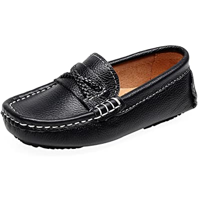 c8a4ac2c2ce Shenn Boy s Girl s Slip On Shoelace Crossover Formal Dress Leather Loafers  Shoes 8775K(Black