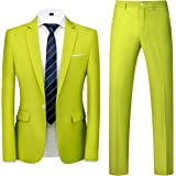 UNINUKOO Mens Slim Fit 2 Piece Suit Single Breasted Jacket Party Prom Tuxedo Pants
