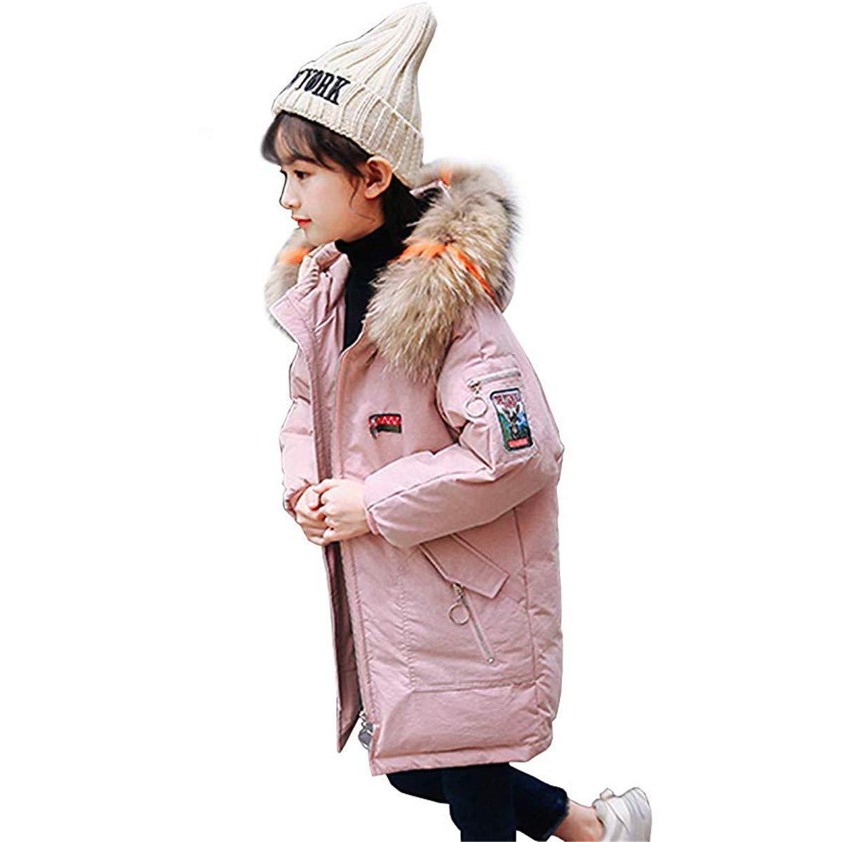 rose 160cm GXYCP Manteau d'hiver à Capuche en Fourrure Légère pour Enfant en Fourrure Duvet d'hiver,rose,140Cm