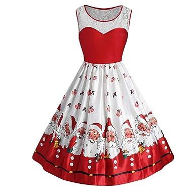 CLOOM Sexy Falda Plisada Santa Claus Campana Impresión Vestido ...