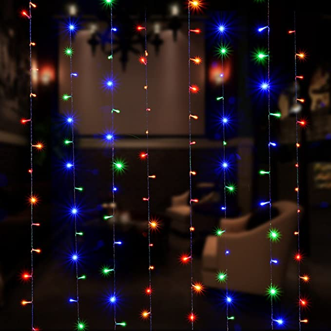 Curtain Icicle Lights, AGPtEK 3M X 3M 8 Modes RGB Multi-Color Fairy String Lights for Christmas Wedding Home Garden Outdoor Window (300 LED) - - Amazon.com