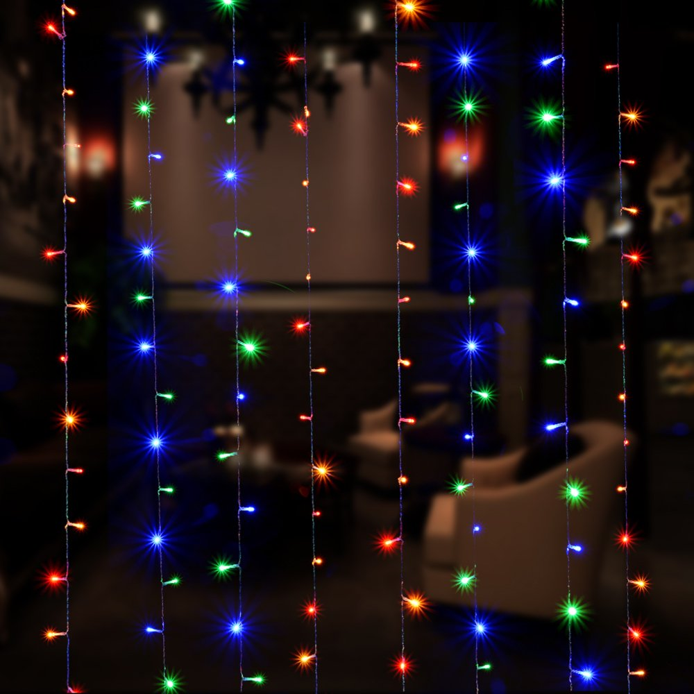 Curtain Lights, IMAGE 224 LED 117.6 IN 79.2 IN LED Lights String Fairy String Lights for Garden/Wedding/Party/Window/Home Decorative - Multi Color by Unknown (Image #5)