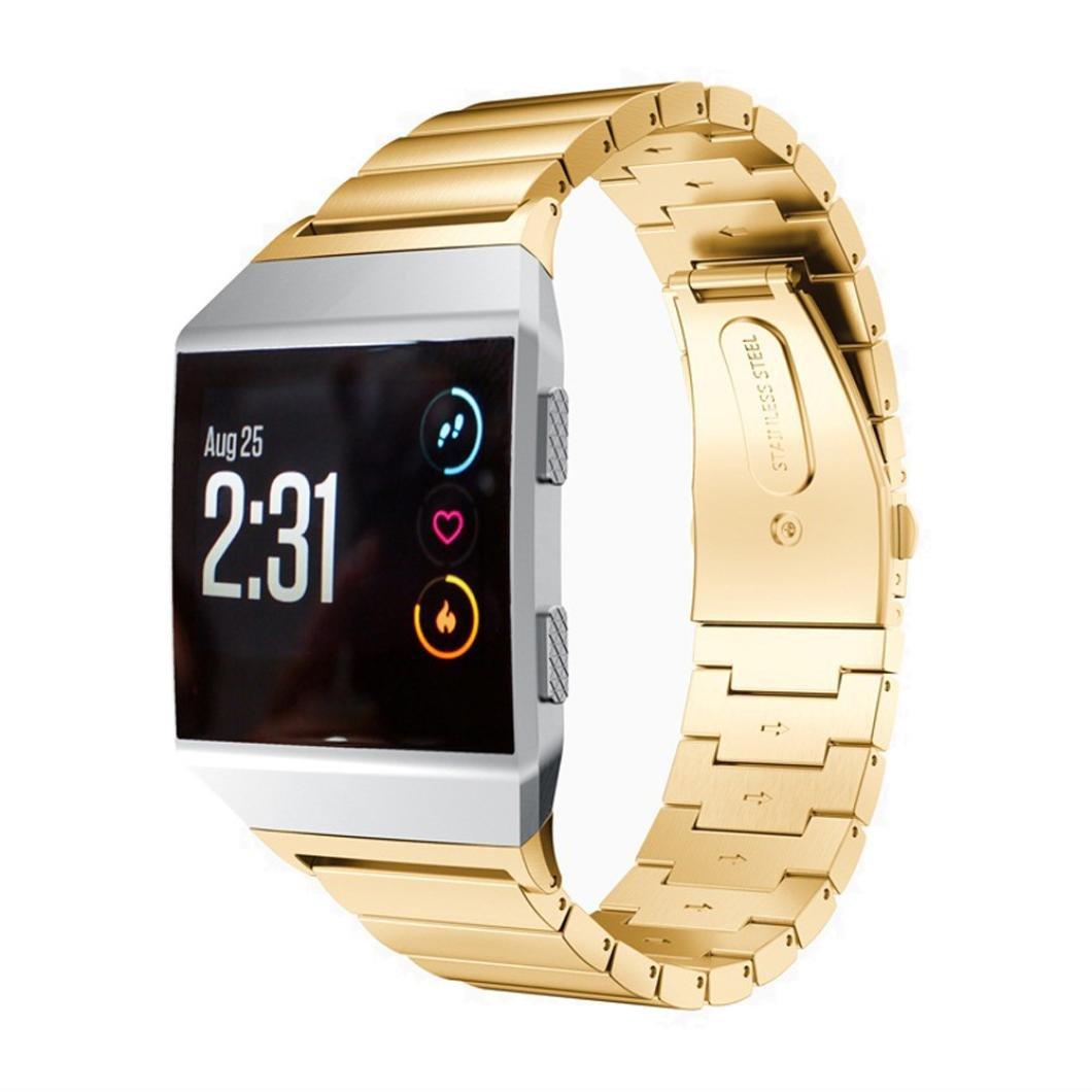 For Fitbit Ionic、Binmer (TM) ソリッドステンレススチールアクセサリー時計バンドストラップメタルバンド 130-210mm ゴールド ゴールド ゴールド B075ZRXXCH