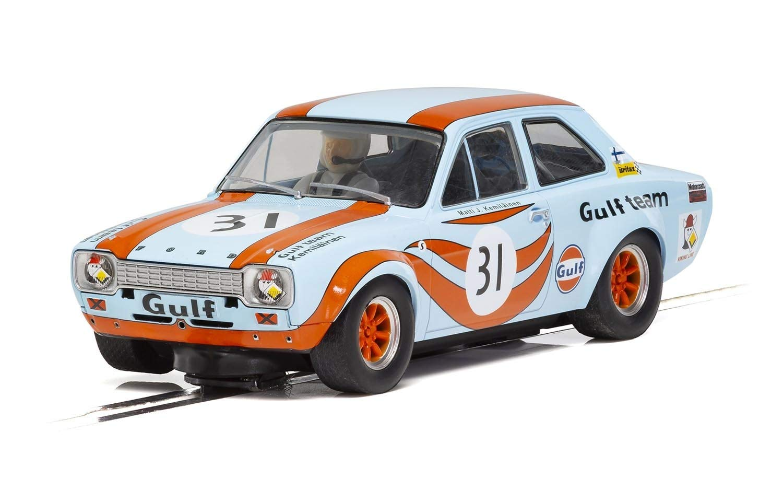 Scalextric Ford Escort MK I Gulf Team 1:32 Slot Race Car C4013