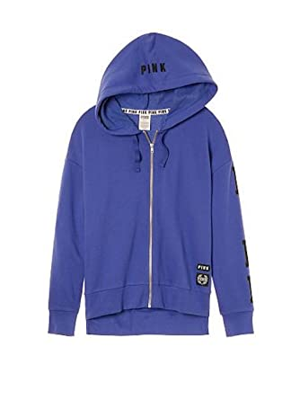 6a5d7ce602c34 Victoria's Secret Pink New Side Slit Full-Zip Hoodie, Purple, Medium ...