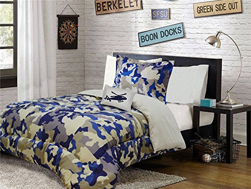Linen Plus Twin Size 6pc Comforter Set for Teen Kids Camouflage Army Beige Blue Taupe ()