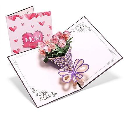 Tarjeta 3D para el Día de la Madre, creativa ramo de clavel ...