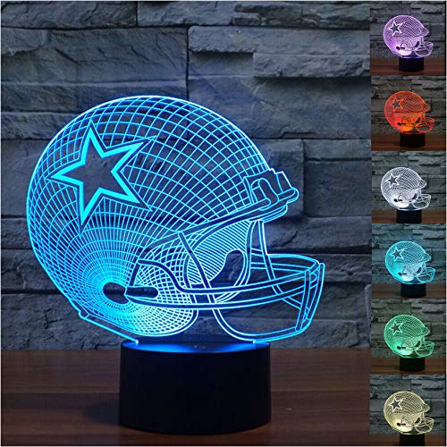 3D Illusion LED Night Light,7 Colors Gradual Changing Touch Switch USB Table Lamp for Holiday Gifts or Home Decorations (Football Helmet)