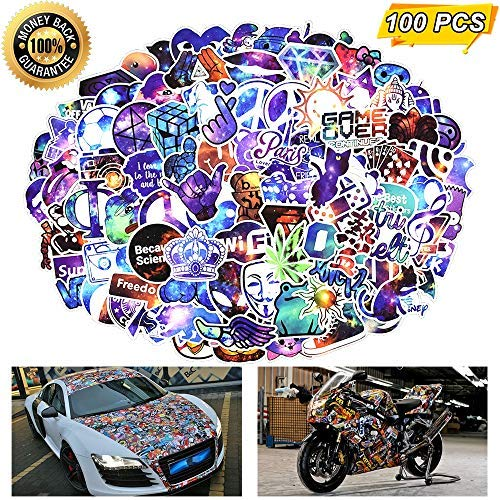 Price comparison product image Laptop Stickers,  Computer Stickers for Laptop Water Bottles Skateboard Car Bumper Guitar Bike Luggage Waterproof Vinyl Decals Cool Graffiti Stickers Pack (100 Pcs Galaxy Stickers)