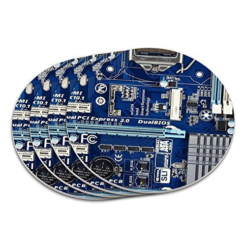 Blue Computer Motherboard Processor CPU Memory Coaster Set