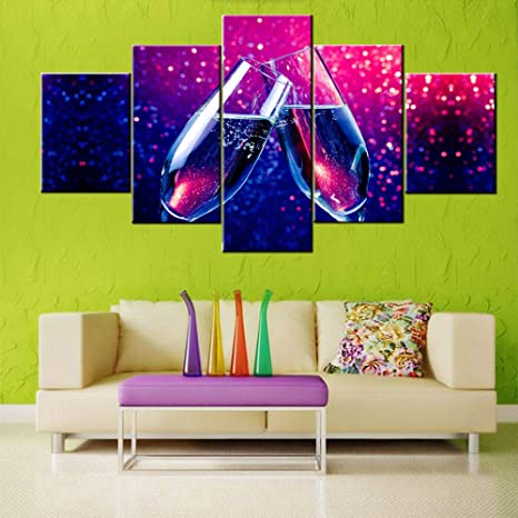 Amazon Com Olorful Pictures For Living Room Pair Of Champagne Painting Multi Panel Purple Prints On Canvas Wine Wall Art Contemporary Artwork House Decor Wooden Framed Gallery Wrapped Ready To Hang 60 Wx32 H Posters Prints