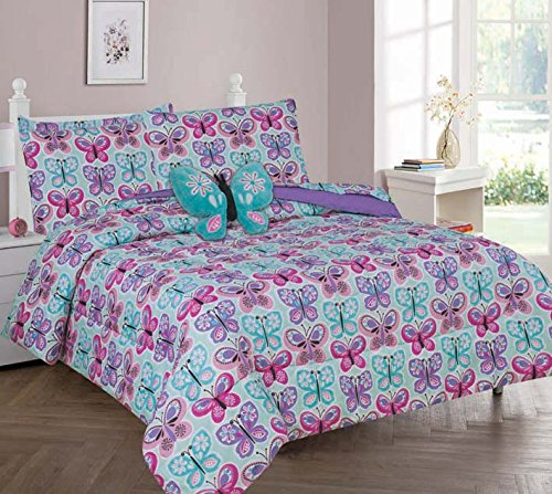 (MB Home Collection Twin Size 6 pieces Printed Blue, Pink, Purple Butterfly Design Comforter, Sheet Set with 1 Pillow Cushion Toy # Butterfly Blue Twin 6 Pcs)