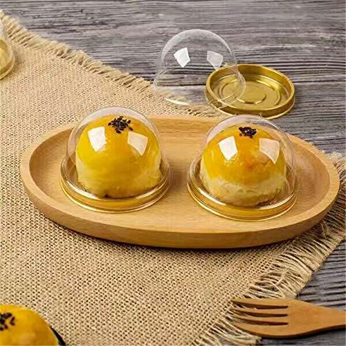 (Katoot@ Gold Black Clear Plastic Mini Cupcake Boxes 50Pcs/Set Cake Packing Boxes Muffin Pod Dome Box Wedding Birthday Gifts Boxes (Gold))