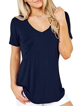 73af72be VIISHOW Women's Sexy Short Sleeve V Neck Patch Pocket Slub Texture Tee  Tunic Top Blouse (
