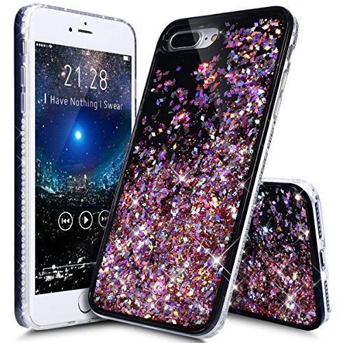 Price comparison product image iPhone 8 Plus Case,iPhone 7 Plus Case,ikasus Flowing Floating Quicksand Bling Glitter Sparkle [TPU+PC] Rhinestone Diamond Bumper Glitter Sparkle Bling Case Cover for iPhone 8 Plus / 7 Plus,F