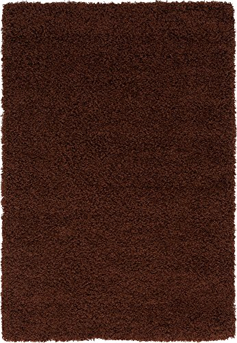 Unique Loom Solo Solid Shag Collection Modern Plush Chocolate Brown Area Rug (4' 0 x 6' 0) (Rug Area Brown)