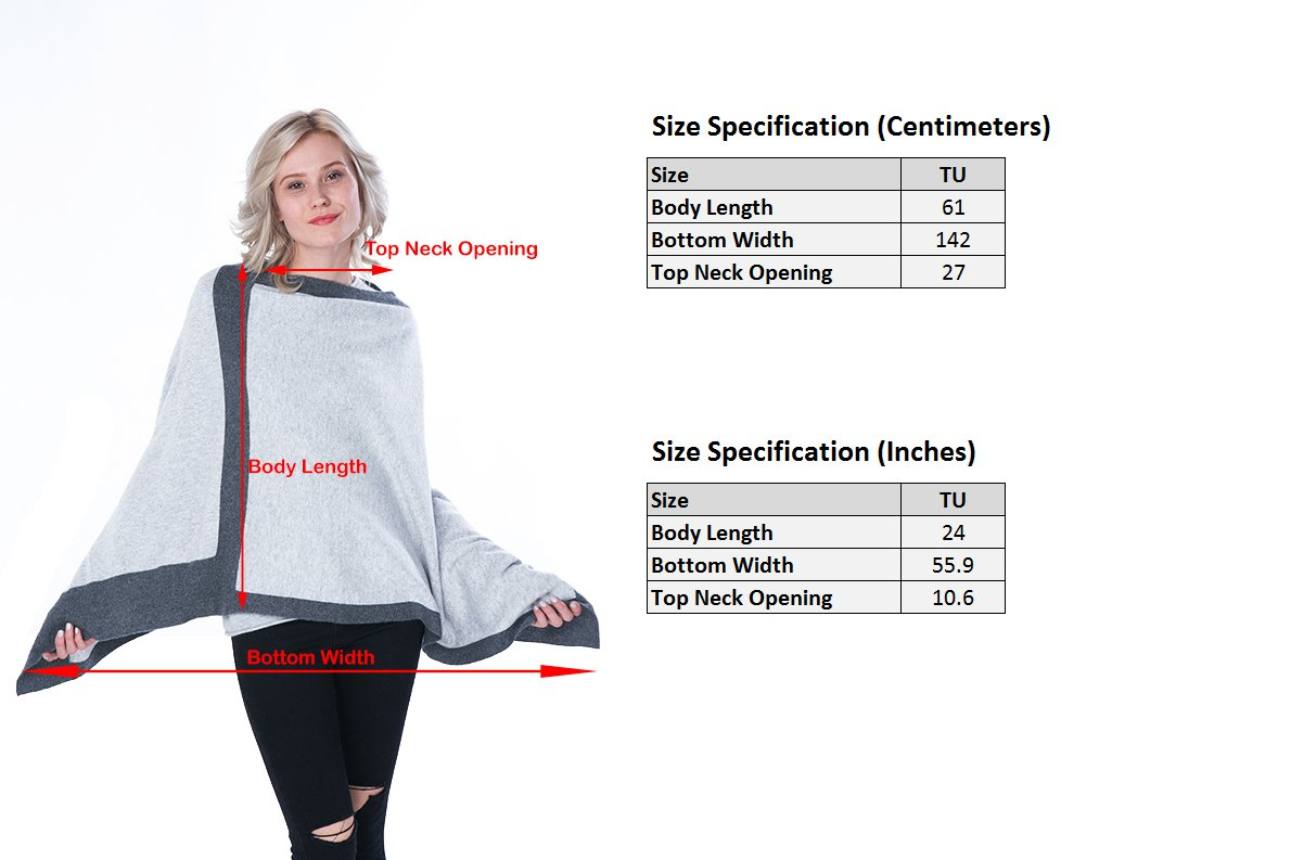 cashmere 4 U 100% Cashmere Poncho Asymmetrical Boat Neck Wraps For Women by cashmere 4 U (Image #3)