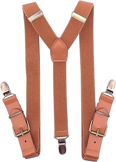 Suspender Strap British Style Hook Vintage Adjustable Unisex Genuine Leather New