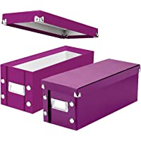 Snap-N-Store CD Storage Box, Assembled Dimensions: 5.13 x 5.13 x 13.25 Inches, Berry, 2 Pack (SNS02067)