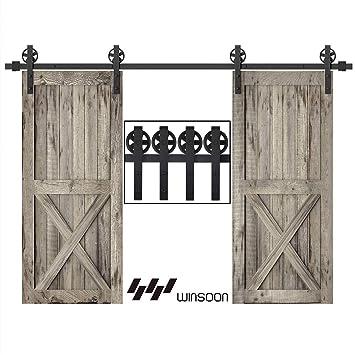 WINSOON - Kit de rieles para puerta corredera de barno, color negro: Amazon.es: Bricolaje y herramientas