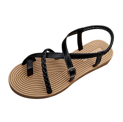 5f77aee807828 Amazon.com  Lurryly Women s Sandals Flat Female Sandals Belt Buckle Sandals  Casual Roman Sandals  Clothing