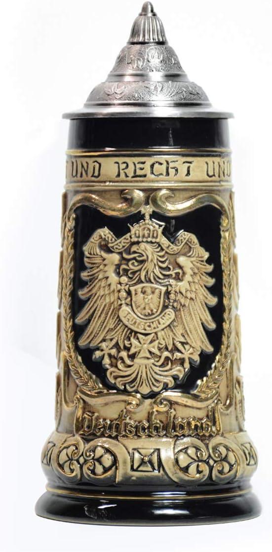 Jarra de Cerveza Alemana con Estaño Tapa Hecho a Mano Regalo Souvenir Relieve de Escudos de armas de Alemania Grabado Estándar de Seguridad Alimentaria Caja de Regalo 0.8 Litre