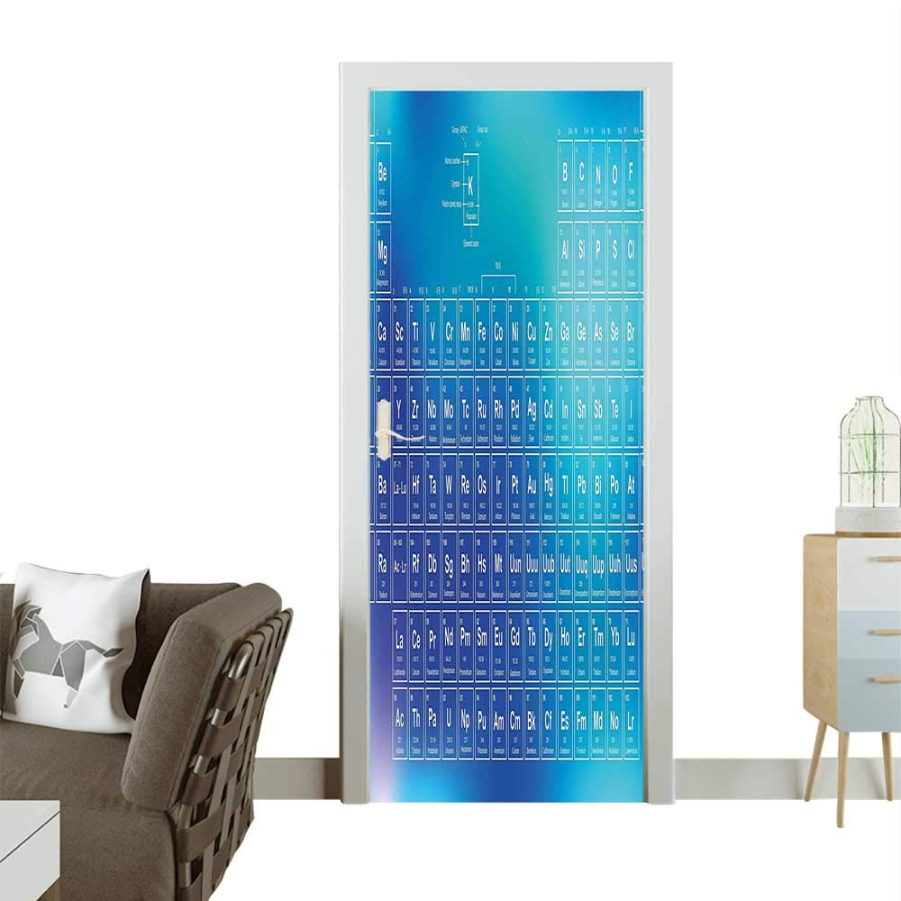 Homesonne Door Decals Element Table Modern Image Blue Backdrop Aqua Sky and Baby Blue Pressure resistantW23 x H70 INCH