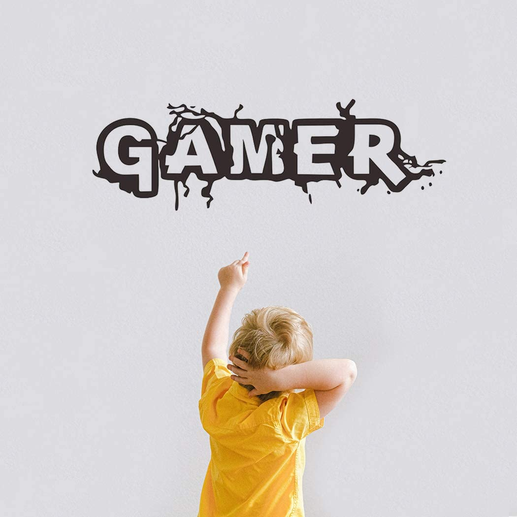 Poorminer Gamer Wall Decals for Boys Room, Video Game Wall Stickers Art Design for Kids Bedroom Playroom Children Gift Nursery,Game Wall Decor Poster Lettering Wall Stickers Murals for Home Decoration