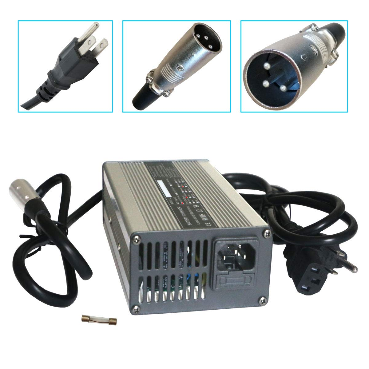 24V 5A Battery Charger with XLR Connector for Wheelchairs, Pride Mobility, Jazzy Power Chair, Drive Medical, Golden Technologies, Shoprider, Rascal 200T/500T/301 PC/314/318 PC/320 PC/326/326A/710 PC by Abakoo