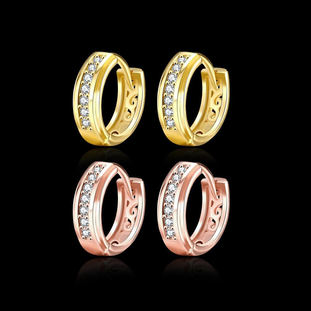 Fashion Hoop Earrings Cubic Zirconia Round Cute Earrings Rromantic Girl Gold Plating