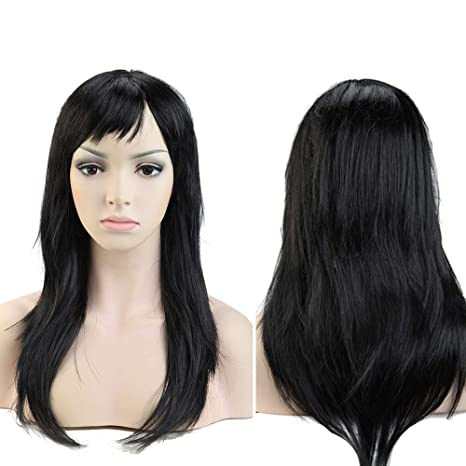Pelucas Negras Mujer Largas Lisas con Flequillo Pelo Se Ve Natural Peluca Sintética para Cosplay Disfraces
