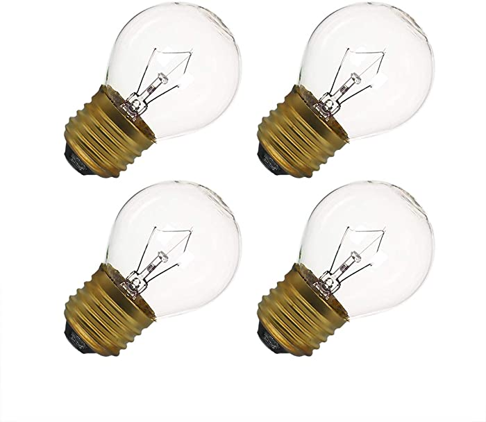 40 Watt Oven Light Bulb G45, 4 Pack Appliance Light Bulbs Replacement for Oven, Refrigerator, Microwave, 415 Lumens - High Temp - Medium Brass Base - 110 to 130 Volt (G45 4-Pack)