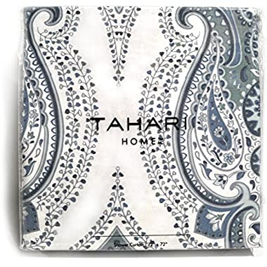 Tahari Luxury Boho Style Moroccan Medallion Fabric Shower Curtain Aqua Navy Blue White Gray Paisley 72-inch By 72-inch