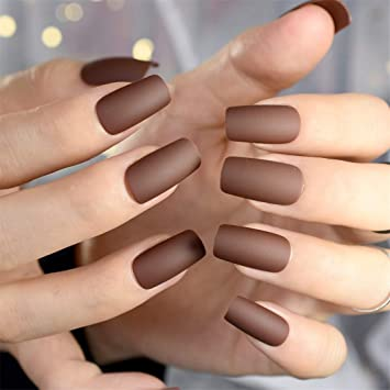 Amazon Chocolate Brown Fake Nails Matte Frost Full Nails Long