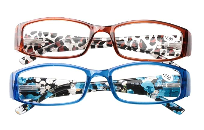 378679c2d04 SOOLALA Womens Quality Spring Hinge Reading Glasses with Patterned Prited  Arms