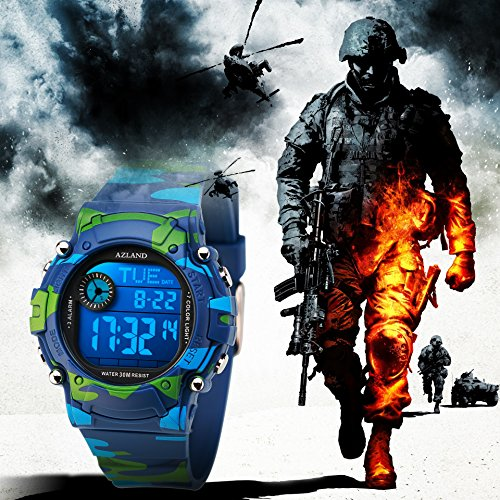 AZLAND 7 Colors Flashing, Multiple Alarms Reminder Sports Kids Wristwatch Waterproof Boys Girls Digital Watches Camo, for Age 4-12 by AZLAND (Image #4)