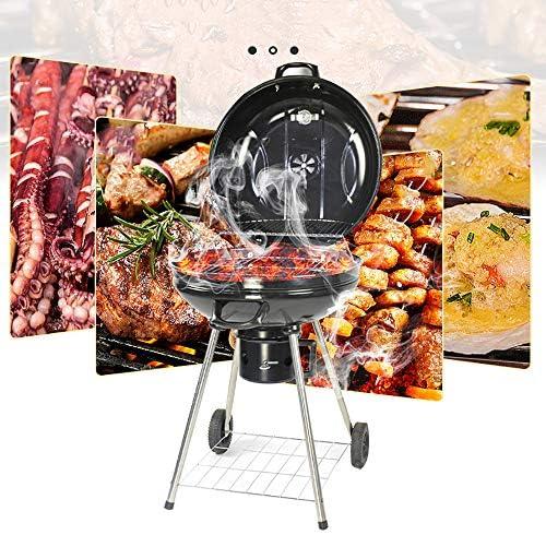 AWLLY Grill Barbecue À Charbon De Pliable Barbecue De Portable avec Thermomètre Et Couvercle Et 2 Roues pour Barbecue De Jardin Extérieur