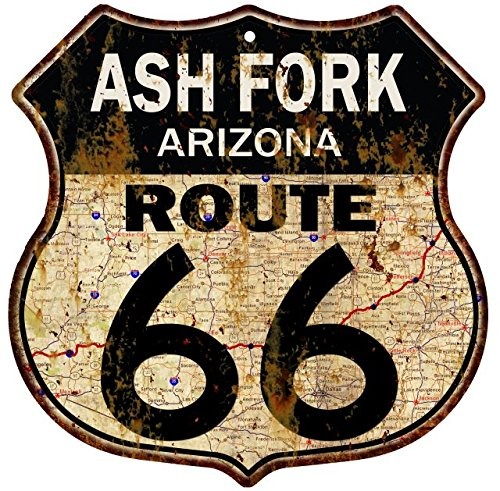 Great American Memories Ash Fork, Arizona Route 66 Vintage Look Rustic 12x12 Metal Shield Sign S122046