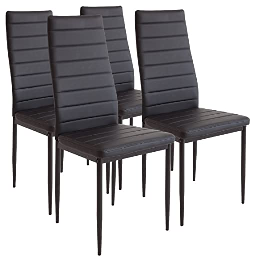 albatros 2551milano dining chairs set of 4 black - Dining Chairs Set Of 4