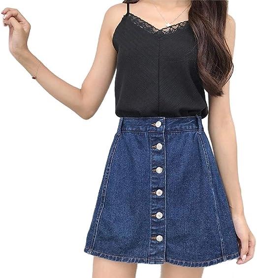 Romancly 女性のAラインラインレトロスタイルフレッシュスカート高ワイシャツジーンズ