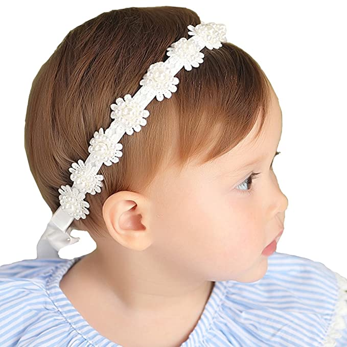 Image Unavailable. Image not available for. Color  RQJ Baby Girls Pearl  White Headbands Christening Headband with Bows Baptism Turban Headwraps Hair  ... e4dddf823c51