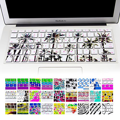 Allytech Keyboard Cover Silicone Skin for MacBook Pro 13 15 17 (with or w/out Retina Display) iMac and MacBook Air 13 (Tropical Series Palm Trees)
