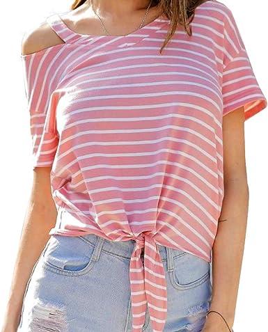 New 2019 Womens Tops Short Sleeve Teen Girls Tees Pocket Stripe Crop Top Tunic Shirts Blouse