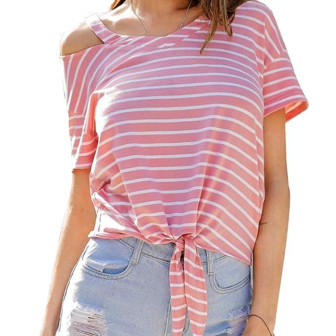 024173d363ad63 Crop Tops Damen Sommer, Teenager Mädchen Mode Bauchfrei Oberteile Sport  Blusen Streifen Shirt Hemd Frauen